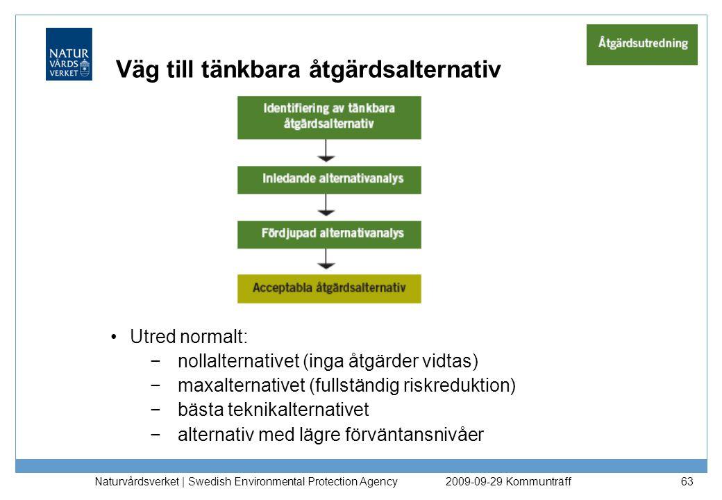 Naturvårdsverket | Swedish Environmental Protection Agency 84 Val av åtgärdsalternativ Riskvärderingen resulterar i förslag till val av åtgärdsalternativ Om de övergripande åtgärdsmålen inte fullt ut kan uppnås –komplettera åtgärdsutredningen med andra teknikalternativ eller –förstärk finansieringen eller –omformulera åtgärdsmålen 2009-09-29 Kommunträff