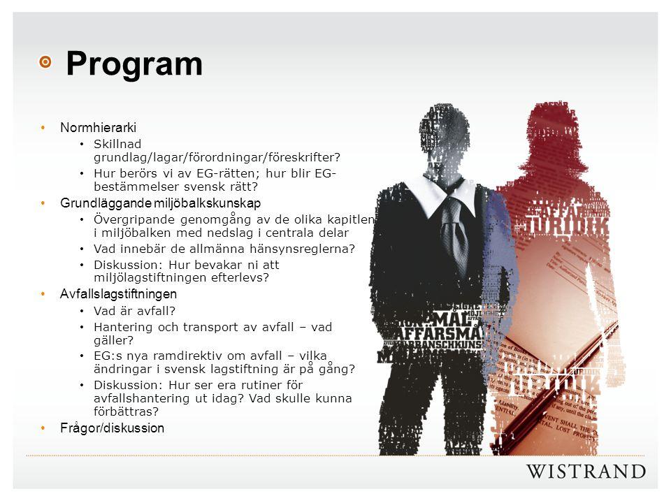 Program Normhierarki Skillnad grundlag/lagar/förordningar/föreskrifter? Hur berörs vi av EG-rätten; hur blir EG- bestämmelser svensk rätt? Grundläggan