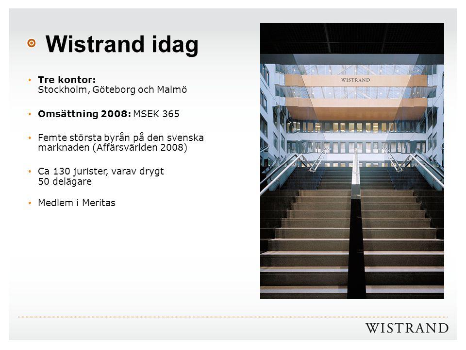 Wistrand idag Tre kontor: Stockholm, Göteborg och Malmö Omsättning 2008: MSEK 365 Femte största byrån på den svenska marknaden (Affärsvärlden 2008) Ca