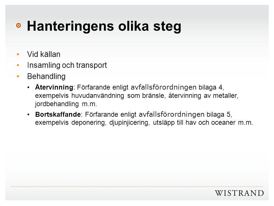 Hanteringens olika steg Vid källan Insamling och transport Behandling Återvinning: Förfarande enligt avfallsförordningen bilaga 4, exempelvis huvudanv