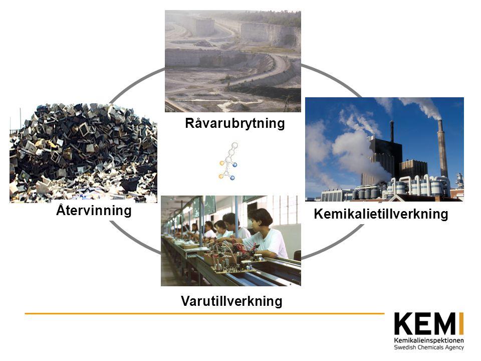 Råvarubrytning Varutillverkning Kemikalietillverkning Återvinning