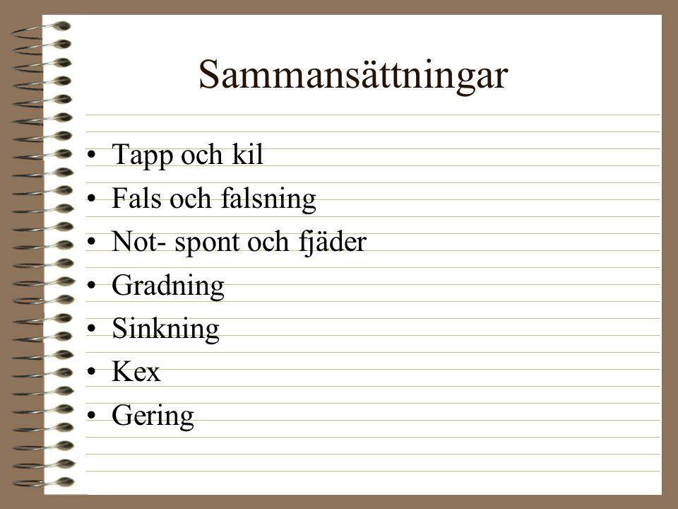 Sammansättningar Tapp och kil Fals och falsning Not- spont och fjäder Gradning Sinkning Kex Gering