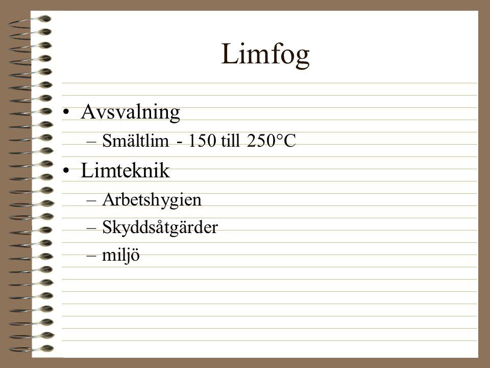 Limfog Avsvalning –Smältlim - 150 till 250°C Limteknik –Arbetshygien –Skyddsåtgärder –miljö