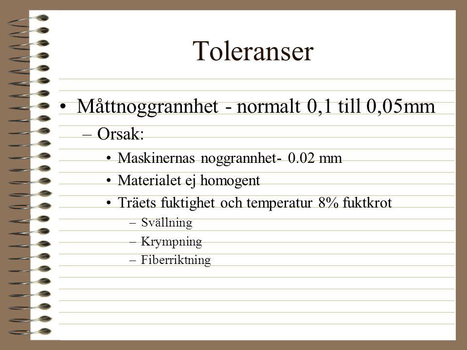 Toleranser Måttnoggrannhet - normalt 0,1 till 0,05mm –Orsak: Maskinernas noggrannhet- 0.02 mm Materialet ej homogent Träets fuktighet och temperatur 8