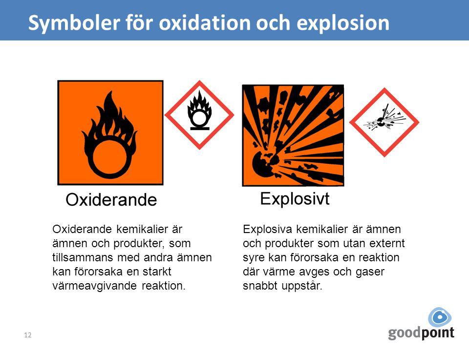 Symboler för oxidation och explosion 12 Oxiderande kemikalier är ämnen och produkter, som tillsammans med andra ämnen kan förorsaka en starkt värmeavgivande reaktion.