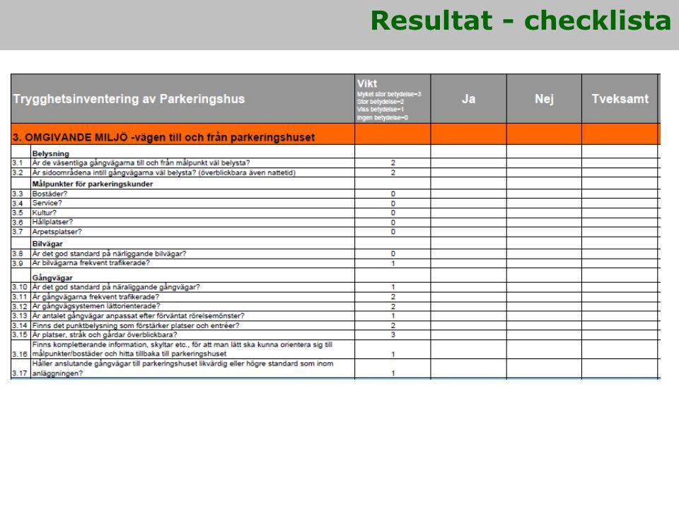 Resultat - checklista