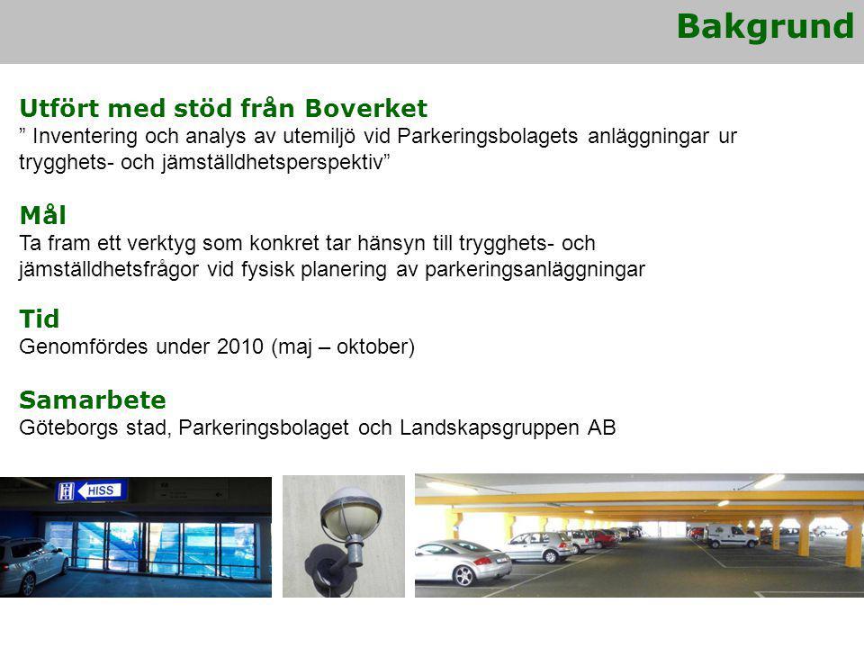 Tillämpning av arbetsmodell i P-bolagets verksamhet Generell standardhöjning för samtliga anläggningar pågår - Uppföljning med hjälp av arbetsmodell - Implementering av arbetssätt i verksamheten Kunskapsspridning och vidareutveckling av arbetsmodell Seminarium arrangeras om intresse finns Dialog Ansökt om medel för samverkansprojekt inom Göteborgs stad - Tydliggöra vilka stråk som är primära - Samverka kring upprustning och förbättrade skötselrutiner Fortsatt arbete