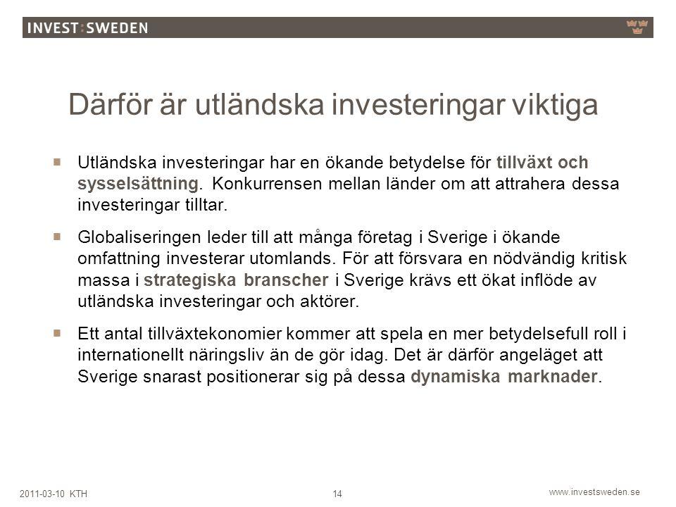 www.investsweden.se 142011-03-10 KTH Därför är utländska investeringar viktiga  Utländska investeringar har en ökande betydelse för tillväxt och sysselsättning.