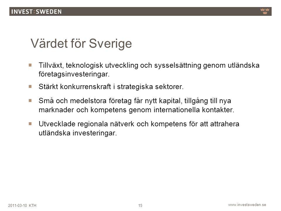 www.investsweden.se 152011-03-10 KTH Värdet för Sverige  Tillväxt, teknologisk utveckling och sysselsättning genom utländska företagsinvesteringar.