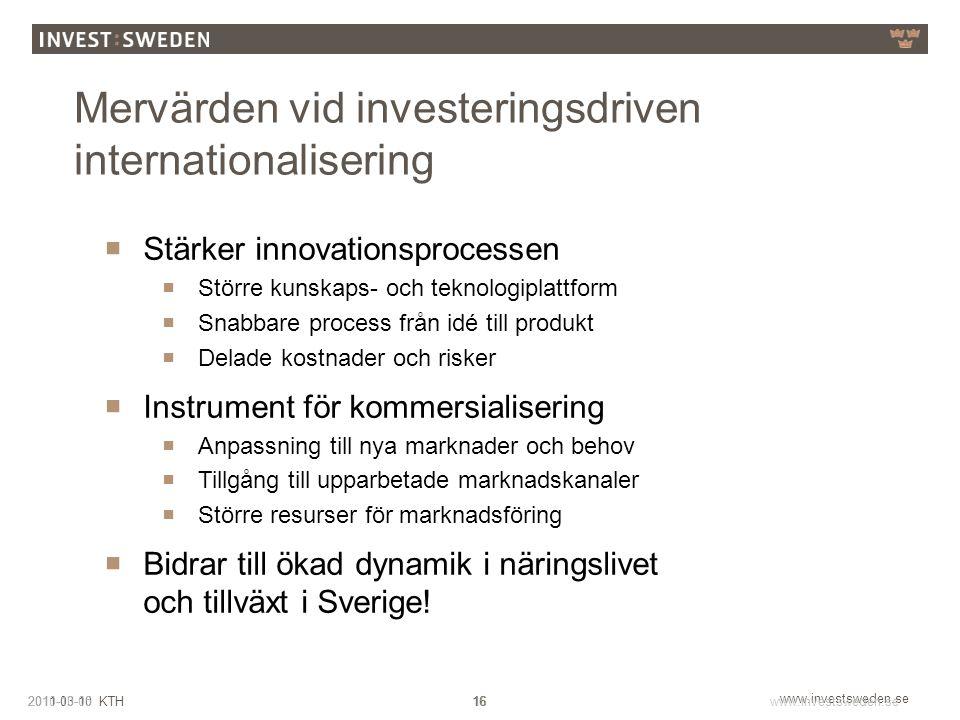 www.investsweden.se 162011-03-10 KTH2010-10-05www.investsweden.se 16 March 28, 2015 Mervärden vid investeringsdriven internationalisering  Stärker in