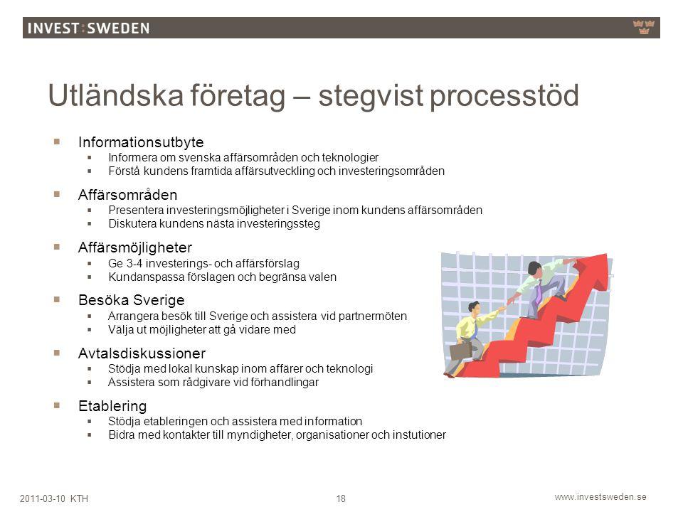 www.investsweden.se 182011-03-10 KTH Utländska företag – stegvist processtöd  Informationsutbyte  Informera om svenska affärsområden och teknologier