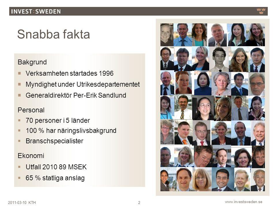 www.investsweden.se 22011-03-10 KTH Snabba fakta Bakgrund  Verksamheten startades 1996  Myndighet under Utrikesdepartementet  Generaldirektör Per-Erik Sandlund Personal  70 personer i 5 länder  100 % har näringslivsbakgrund  Branschspecialister Ekonomi  Utfall 2010 89 MSEK  65 % statliga anslag