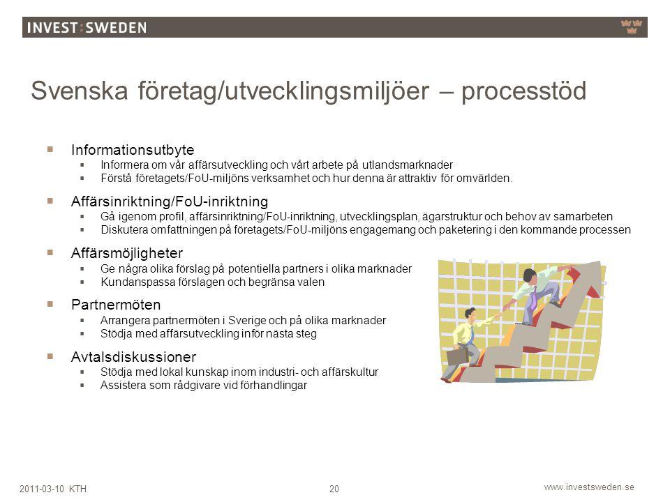 www.investsweden.se 202011-03-10 KTH Svenska företag/utvecklingsmiljöer – processtöd  Informationsutbyte  Informera om vår affärsutveckling och vårt