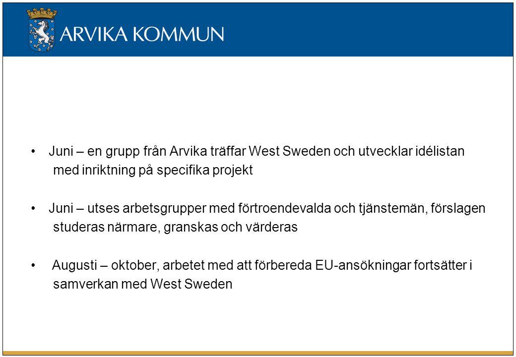 Juni – en grupp från Arvika träffar West Sweden och utvecklar idélistan med inriktning på specifika projekt Juni – utses arbetsgrupper med förtroendevalda och tjänstemän, förslagen studeras närmare, granskas och värderas Augusti – oktober, arbetet med att förbereda EU-ansökningar fortsätter i samverkan med West Sweden