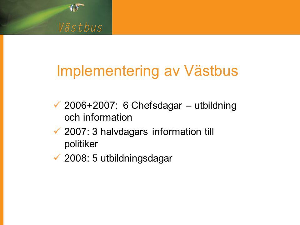 Implementering av Västbus 2006+2007: 6 Chefsdagar – utbildning och information 2007: 3 halvdagars information till politiker 2008: 5 utbildningsdagar