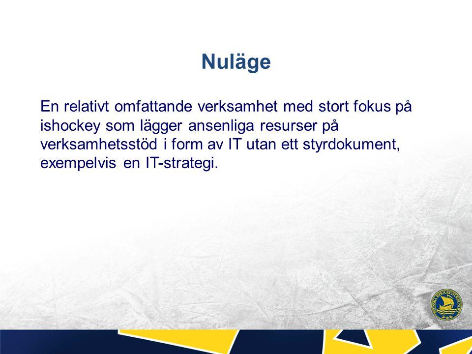 Nuläge En relativt omfattande verksamhet med stort fokus på ishockey som lägger ansenliga resurser på verksamhetsstöd i form av IT utan ett styrdokume