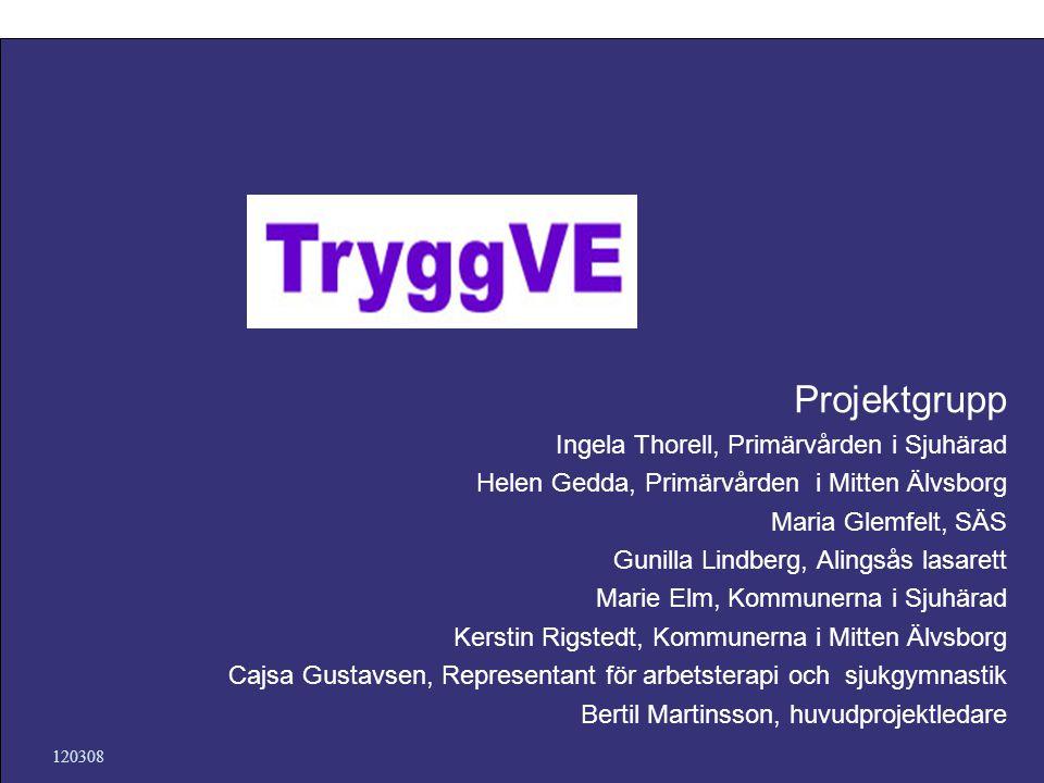 120308 Projektgrupp Ingela Thorell, Primärvården i Sjuhärad Helen Gedda, Primärvården i Mitten Älvsborg Maria Glemfelt, SÄS Gunilla Lindberg, Alingsås