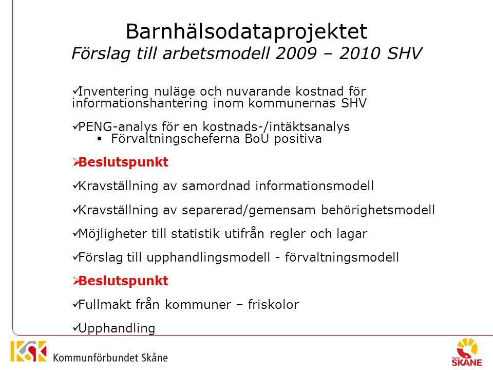 Barnhälsodataprojektet Förslag till arbetsmodell 2009 – 2010 SHV Inventering nuläge och nuvarande kostnad för informationshantering inom kommunernas SHV PENG-analys för en kostnads-/intäktsanalys  Förvaltningscheferna BoU positiva  Beslutspunkt Kravställning av samordnad informationsmodell Kravställning av separerad/gemensam behörighetsmodell Möjligheter till statistik utifrån regler och lagar Förslag till upphandlingsmodell - förvaltningsmodell  Beslutspunkt Fullmakt från kommuner – friskolor Upphandling