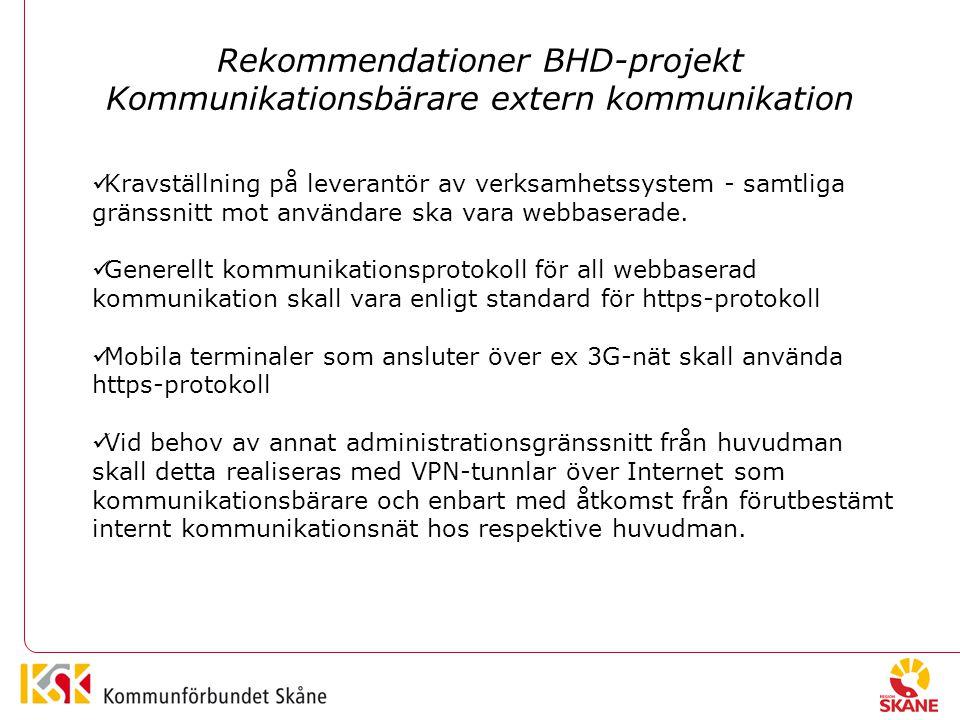 Rekommendationer BHD-projekt Kommunikationsbärare extern kommunikation Kravställning på leverantör av verksamhetssystem - samtliga gränssnitt mot användare ska vara webbaserade.