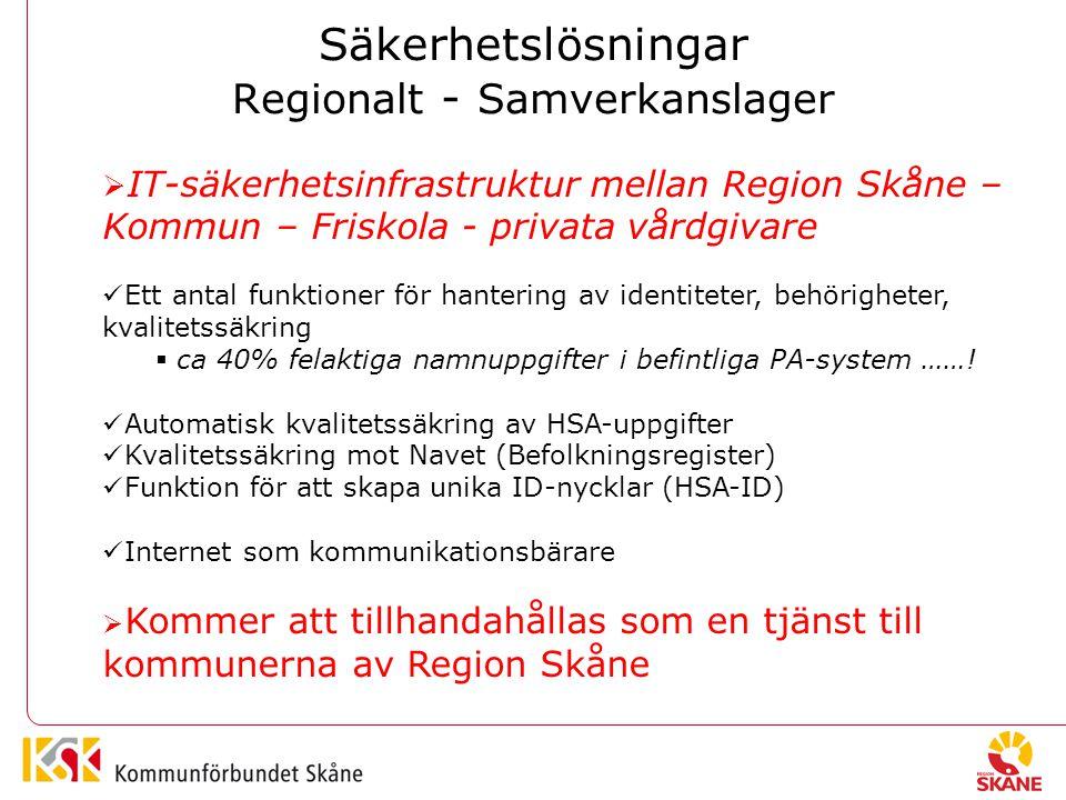 Säkerhetslösningar Regionalt - Samverkanslager  IT-säkerhetsinfrastruktur mellan Region Skåne – Kommun – Friskola - privata vårdgivare Ett antal funktioner för hantering av identiteter, behörigheter, kvalitetssäkring  ca 40% felaktiga namnuppgifter i befintliga PA-system …….