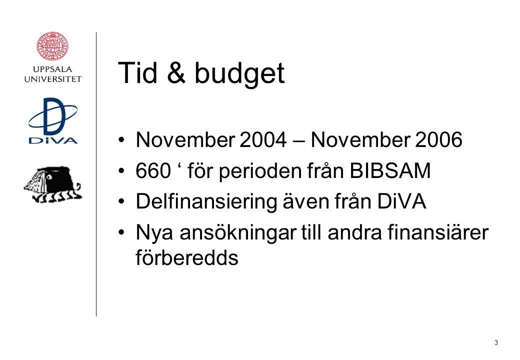 3 Tid & budget November 2004 – November 2006 660 ' för perioden från BIBSAM Delfinansiering även från DiVA Nya ansökningar till andra finansiärer förb