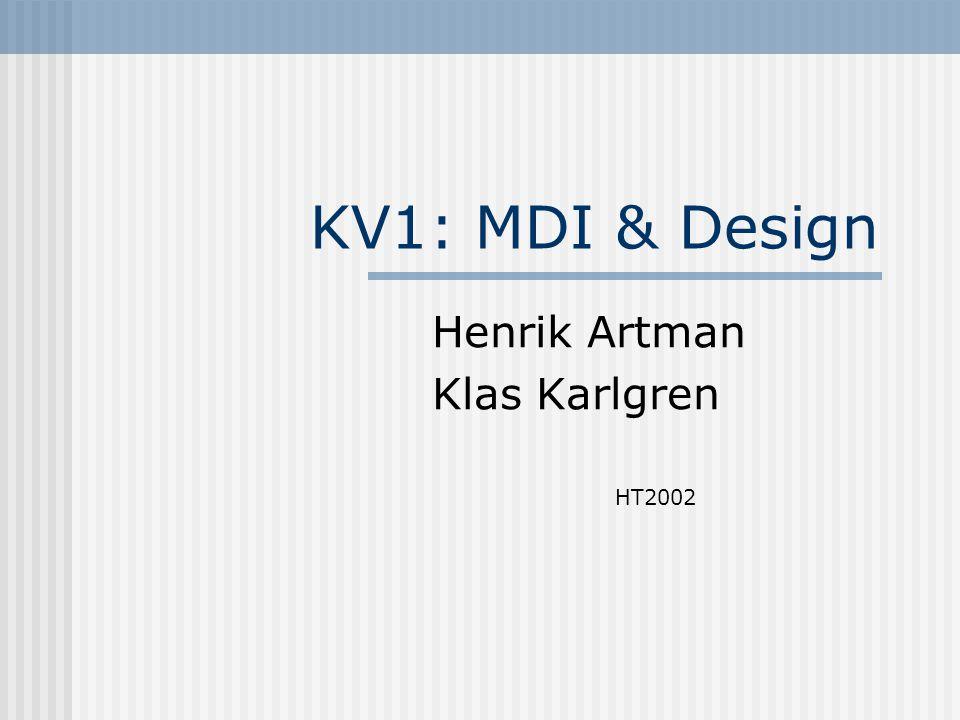 KV1: MDI & Design Henrik Artman Klas Karlgren HT2002