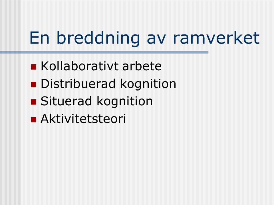 En breddning av ramverket Kollaborativt arbete Distribuerad kognition Situerad kognition Aktivitetsteori
