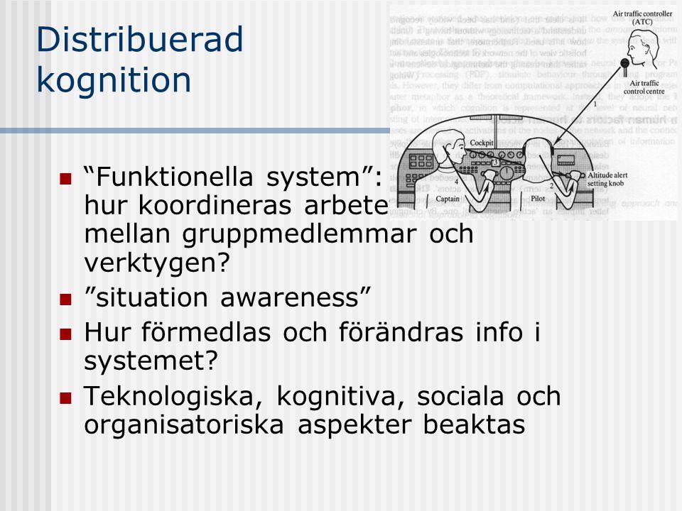 Distribuerad kognition Funktionella system : hur koordineras arbetet mellan gruppmedlemmar och verktygen.