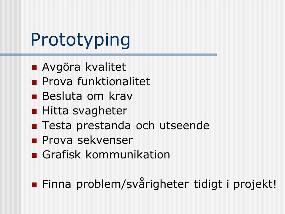 Prototyping Avgöra kvalitet Prova funktionalitet Besluta om krav Hitta svagheter Testa prestanda och utseende Prova sekvenser Grafisk kommunikation Finna problem/svårigheter tidigt i projekt!