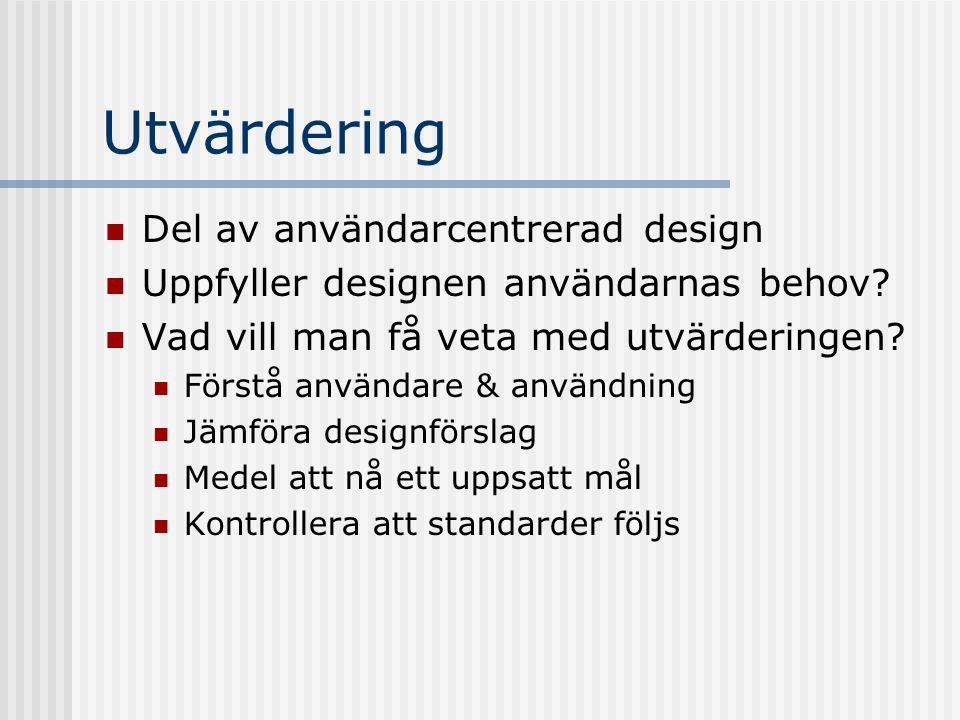 Utvärdering Del av användarcentrerad design Uppfyller designen användarnas behov.