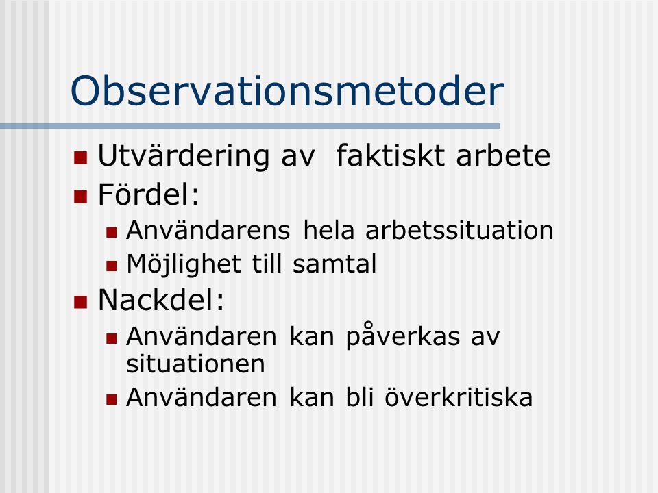 Observationsmetoder Utvärdering av faktiskt arbete Fördel: Användarens hela arbetssituation Möjlighet till samtal Nackdel: Användaren kan påverkas av situationen Användaren kan bli överkritiska