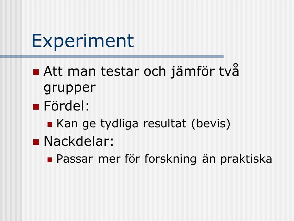 Experiment Att man testar och jämför två grupper Fördel: Kan ge tydliga resultat (bevis) Nackdelar: Passar mer för forskning än praktiska