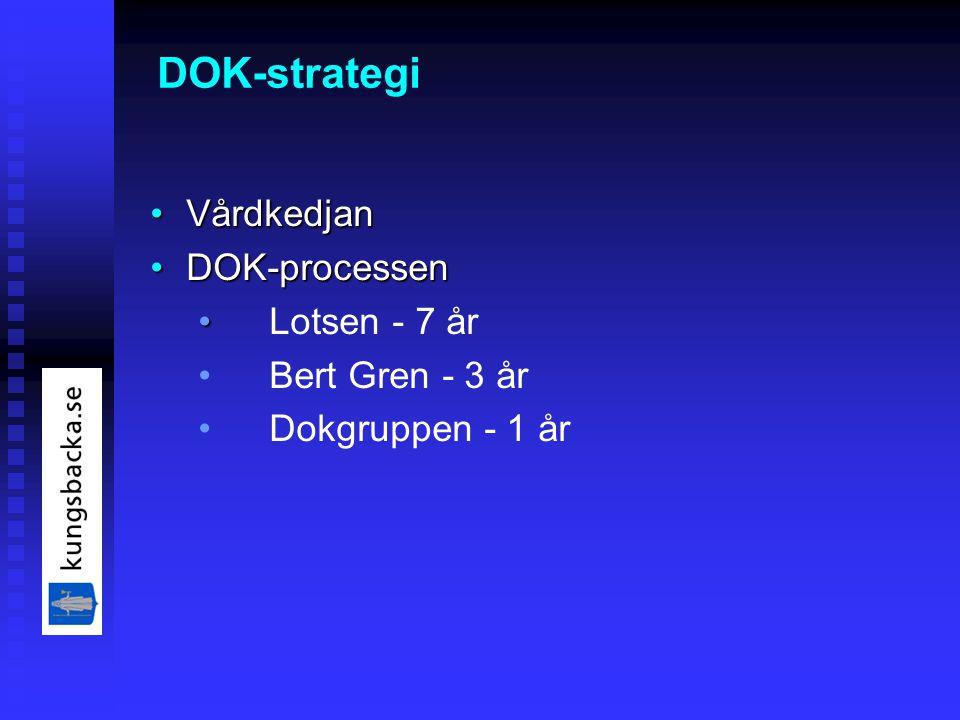 DOK-strategi VårdkedjanVårdkedjan DOK-processenDOK-processen Lotsen - 7 år Bert Gren - 3 år Dokgruppen - 1 år