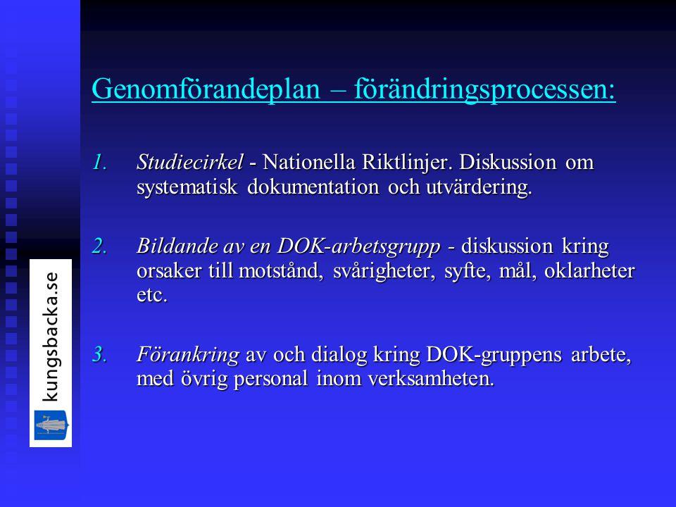 Genomförandeplan – förändringsprocessen: 1.Studiecirkel - Nationella Riktlinjer.