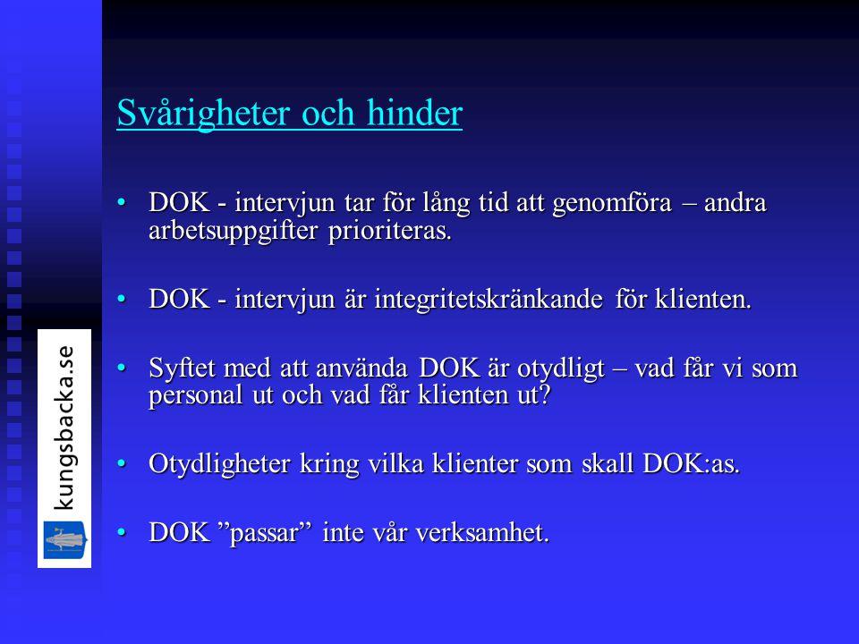 Svårigheter och hinder DOK - intervjun tar för lång tid att genomföra – andra arbetsuppgifter prioriteras.DOK - intervjun tar för lång tid att genomföra – andra arbetsuppgifter prioriteras.