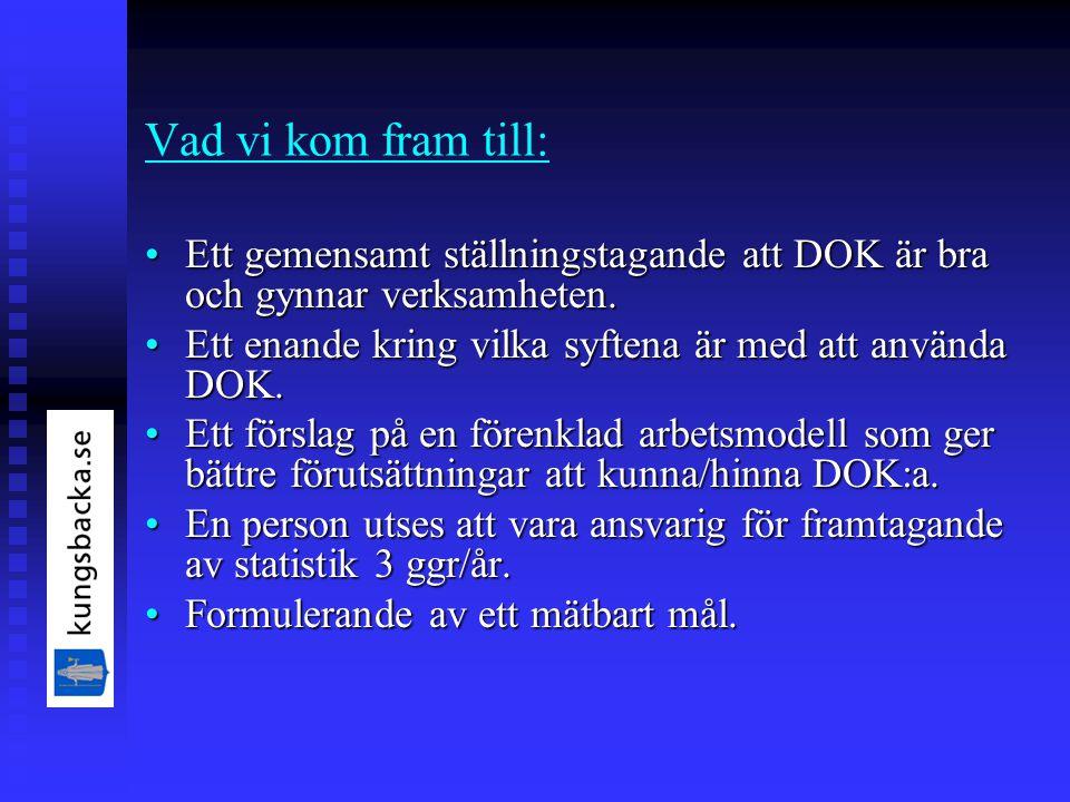 Vad vi kom fram till: Ett gemensamt ställningstagande att DOK är bra och gynnar verksamheten.Ett gemensamt ställningstagande att DOK är bra och gynnar verksamheten.