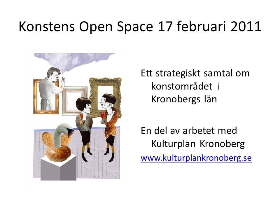 Konstens Open Space 17 februari 2011 Ett strategiskt samtal om konstområdet i Kronobergs län En del av arbetet med Kulturplan Kronoberg www.kulturplankronoberg.se