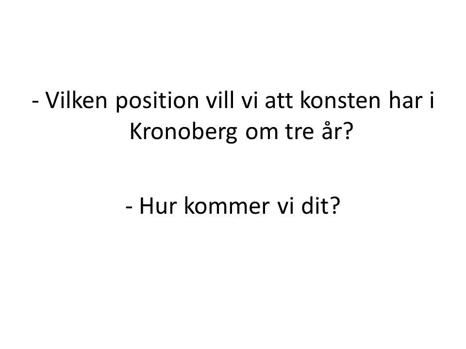 - Vilken position vill vi att konsten har i Kronoberg om tre år? - Hur kommer vi dit?