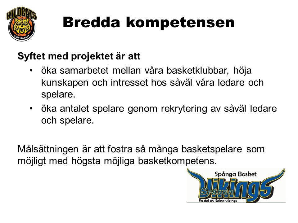 Bredda kompetensen Syftet med projektet är att öka samarbetet mellan våra basketklubbar, höja kunskapen och intresset hos såväl våra ledare och spelar