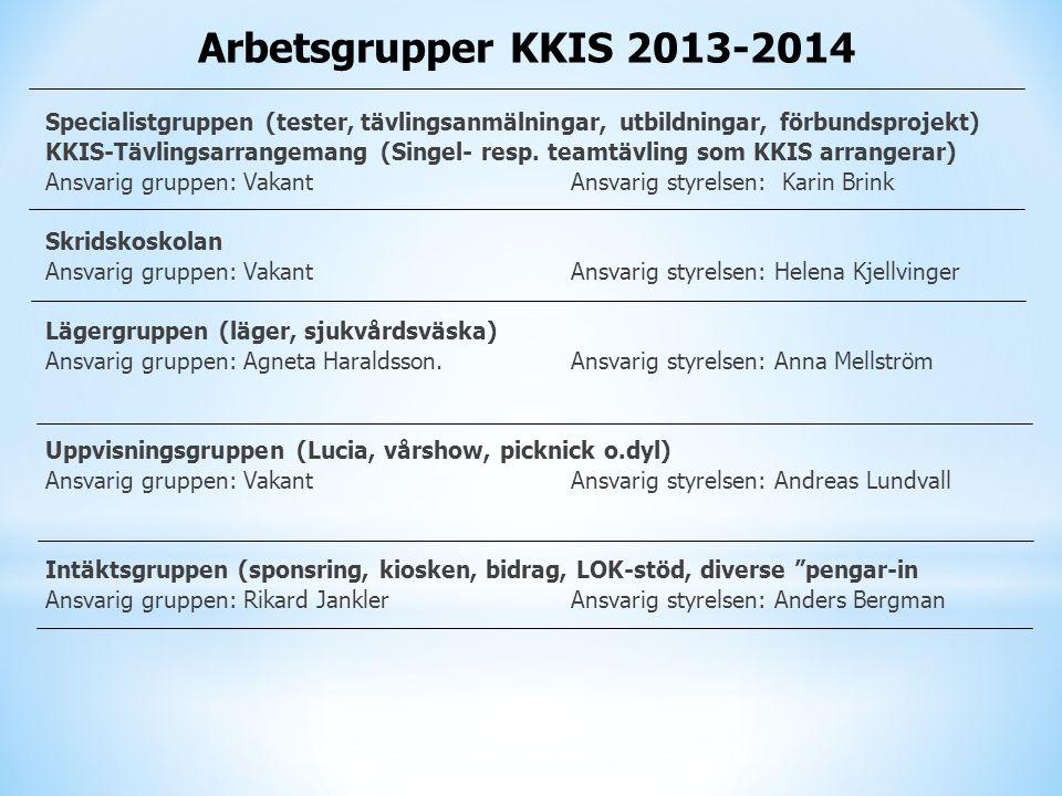 Arbetsgrupper KKIS 2013-2014 Specialistgruppen (tester, tävlingsanmälningar, utbildningar, förbundsprojekt) KKIS-Tävlingsarrangemang (Singel- resp. te