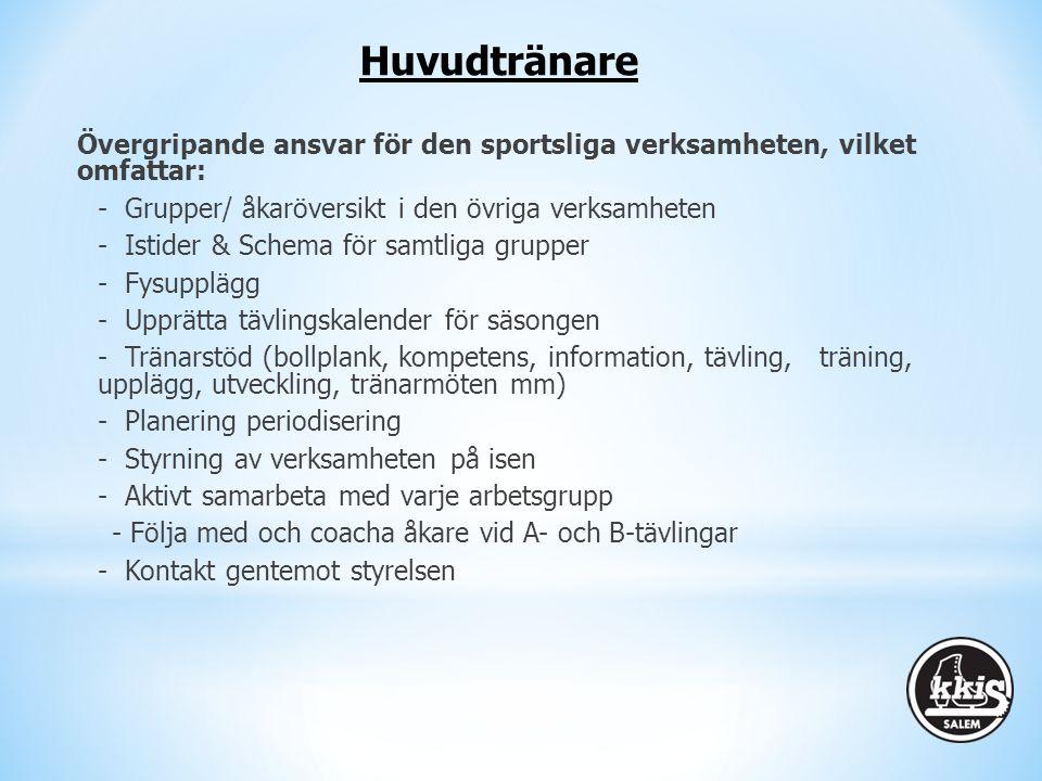 Övergripande ansvar för den sportsliga verksamheten, vilket omfattar: - Grupper/ åkaröversikt i den övriga verksamheten - Istider & Schema för samtlig