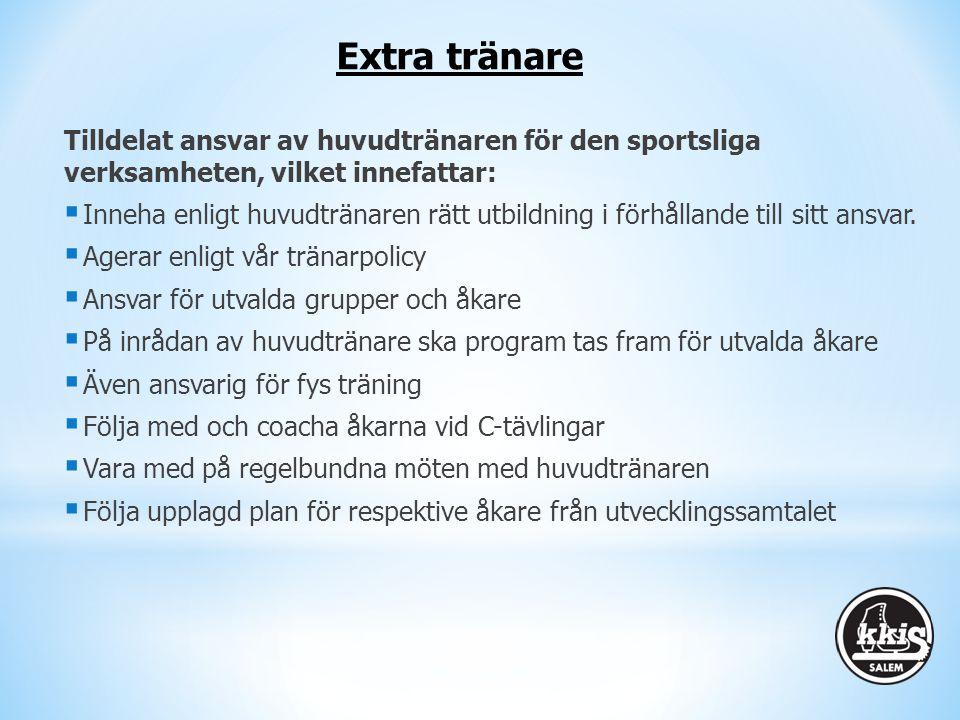 Tilldelat ansvar av huvudtränaren för den sportsliga verksamheten, vilket innefattar:  Inneha enligt huvudtränaren rätt utbildning i förhållande till