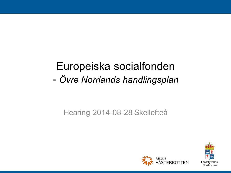 Europeiska socialfonden - Övre Norrlands handlingsplan Hearing 2014-08-28 Skellefteå