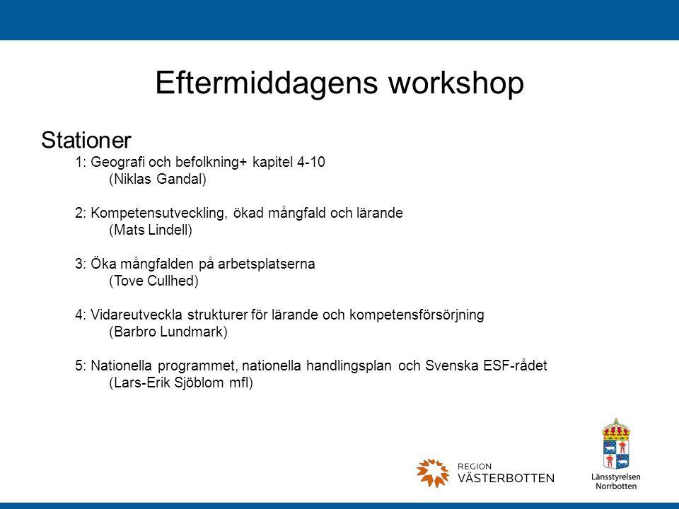 Eftermiddagens workshop Stationer 1: Geografi och befolkning+ kapitel 4-10 (Niklas Gandal) 2: Kompetensutveckling, ökad mångfald och lärande (Mats Lindell) 3: Öka mångfalden på arbetsplatserna (Tove Cullhed) 4: Vidareutveckla strukturer för lärande och kompetensförsörjning (Barbro Lundmark) 5: Nationella programmet, nationella handlingsplan och Svenska ESF-rådet (Lars-Erik Sjöblom mfl)