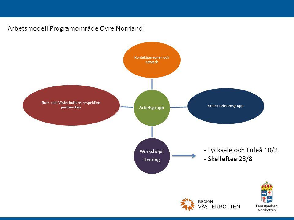 Arbetsgrupp Kontaktpersoner och nätverk Extern referensgrupp Workshops Hearing Norr- och Västerbottens respektive partnerskap Arbetsmodell Programområde Övre Norrland - Lycksele och Luleå 10/2 - Skellefteå 28/8