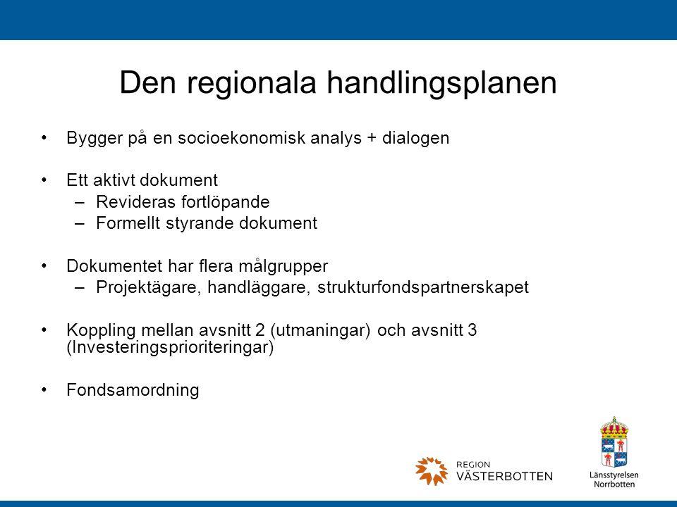 Den regionala handlingsplanen Bygger på en socioekonomisk analys + dialogen Ett aktivt dokument –Revideras fortlöpande –Formellt styrande dokument Dokumentet har flera målgrupper –Projektägare, handläggare, strukturfondspartnerskapet Koppling mellan avsnitt 2 (utmaningar) och avsnitt 3 (Investeringsprioriteringar) Fondsamordning