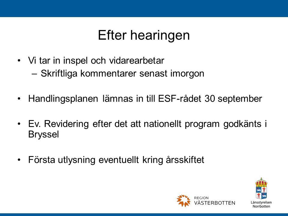 Efter hearingen Vi tar in inspel och vidarearbetar –Skriftliga kommentarer senast imorgon Handlingsplanen lämnas in till ESF-rådet 30 september Ev.