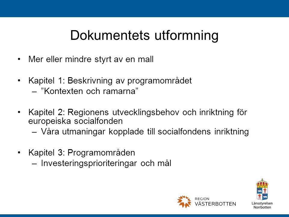 Dokumentets utformning Mer eller mindre styrt av en mall Kapitel 1: Beskrivning av programområdet – Kontexten och ramarna Kapitel 2: Regionens utvecklingsbehov och inriktning för europeiska socialfonden –Våra utmaningar kopplade till socialfondens inriktning Kapitel 3: Programområden –Investeringsprioriteringar och mål