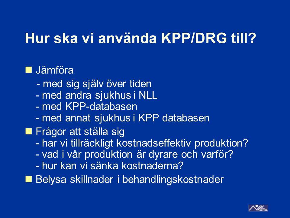 Hur ska vi använda KPP/DRG till? Jämföra - med sig själv över tiden - med andra sjukhus i NLL - med KPP-databasen - med annat sjukhus i KPP databasen