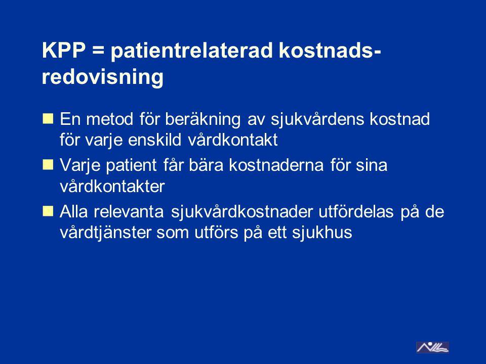 KPP = patientrelaterad kostnads- redovisning En metod för beräkning av sjukvårdens kostnad för varje enskild vårdkontakt Varje patient får bära kostnaderna för sina vårdkontakter Alla relevanta sjukvårdkostnader utfördelas på de vårdtjänster som utförs på ett sjukhus